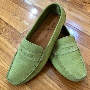 MERCANTI FIORENTINI Lime Green Suede Penny Loafer